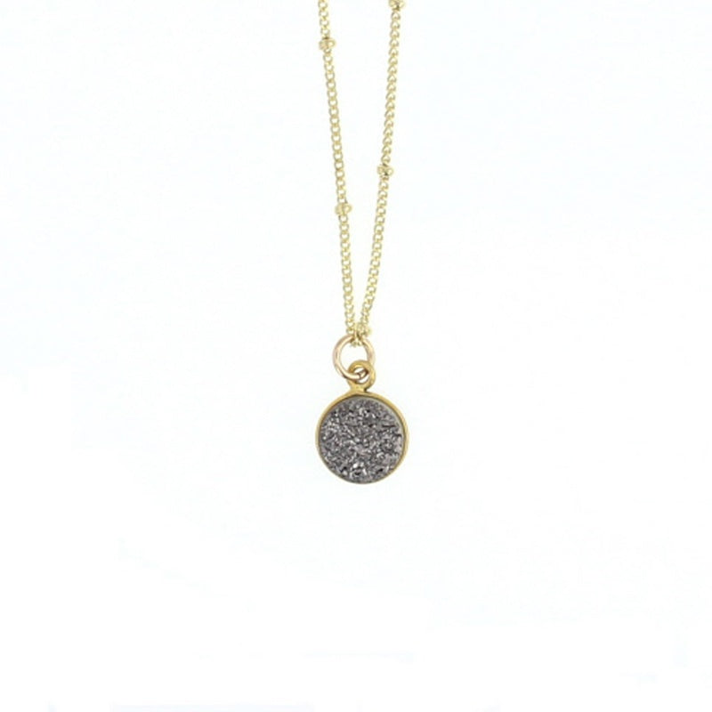 Lotus Silver Druzy Luster Necklace Gold