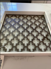 White Wood Tray w/ Moroccan Design & Glass