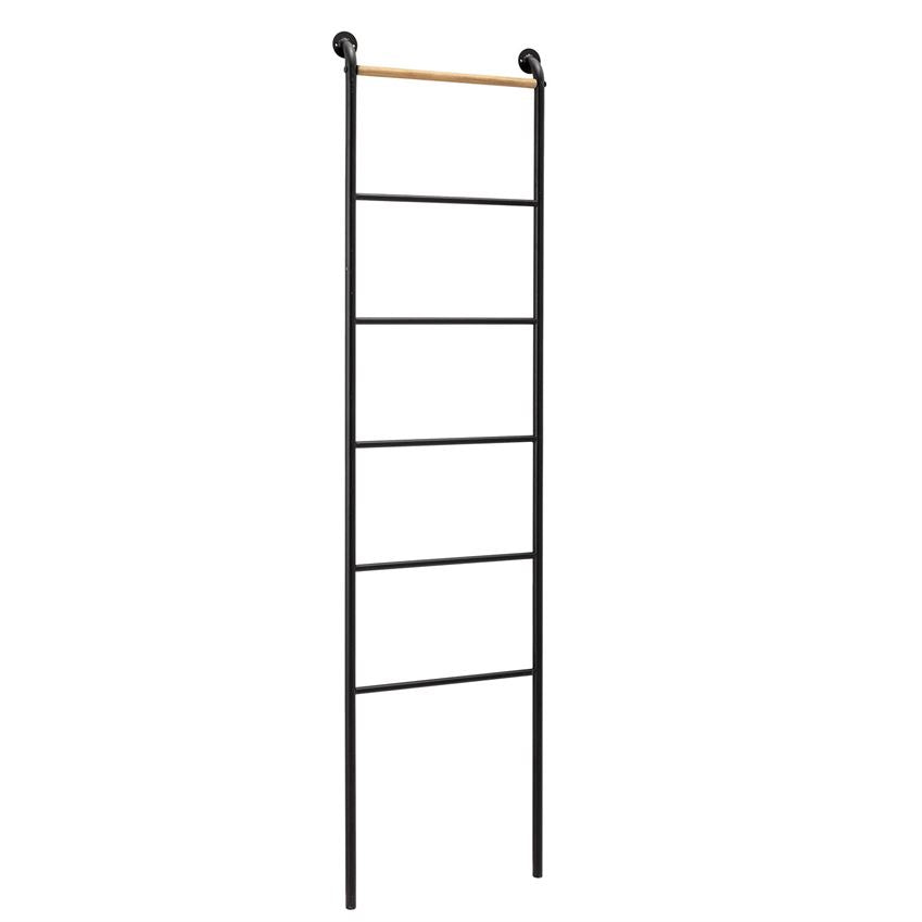Decorative Wood & Metal Wall Mount Ladder Rack, Black