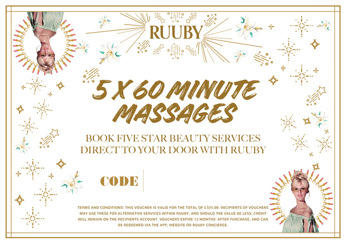 Ruuby Voucher for 5 X 60 Minute Massages