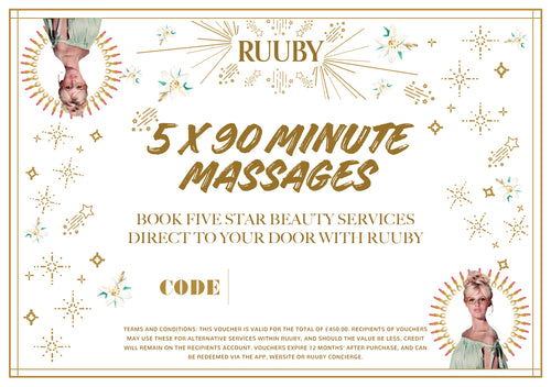 Ruuby Voucher for 5 X 90 Minute Massages