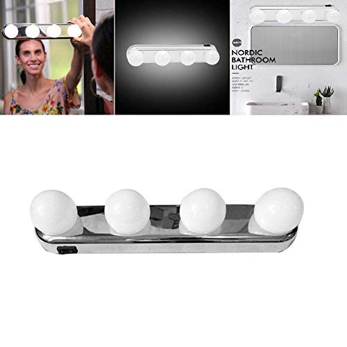 Queta 4 LED Bulbs Makeup Dressing Table Hollywood Style Light Cabinet Lamp Studio Glow Vanity Super Battery Powered Mirror Light with Powerful Suction Cups
