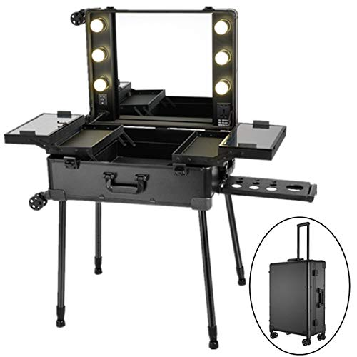 Makeup Station, PALDIN Portable Makeup Station With Lights Makeup Trolley  Box Cosmetic Train Beauty Travel ...
