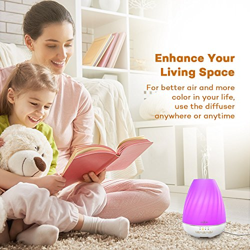 Essential Oil Diffuser Anjou Ultrasonic 200mL Aroma Diffuser with Mist Control for 12H Use (Low Water Auto Shut-Off, 4 Timer Settings, 7 Colorful LED Lights and BPA-Free)