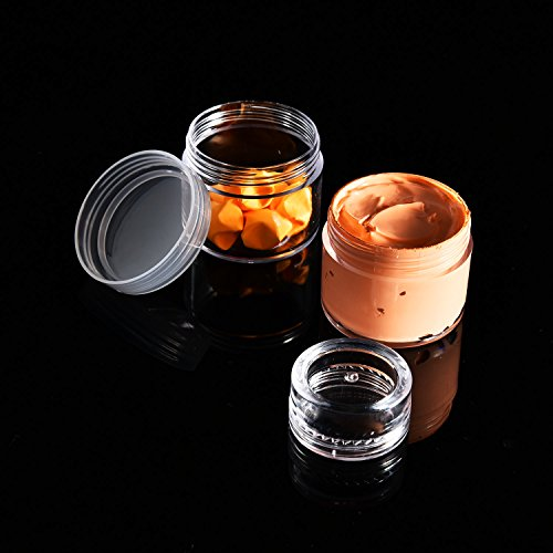 20 Pieces Cosmetic Containers Travel Pot Jar Set with Lid for Creams Sample Make-up Storage, 5, 10, 15 and 20 Gram (Clear Lid and Clear Body)
