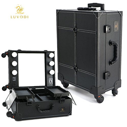Wheeled Makeup Case with 6 Bulbs Lights Cosmetic Train Case Beauty Travel Box Black