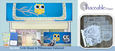 Traceable Designer DIY valance kit. Create adorable children's window treatments using a baby crib sheet.