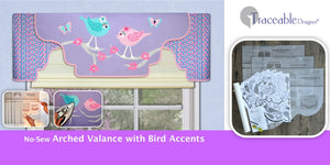 Traceable Designer no-sew valance kit. Create easy no-sew valances to fit any window size. Use easy traceable forms to make adorable children's valances.