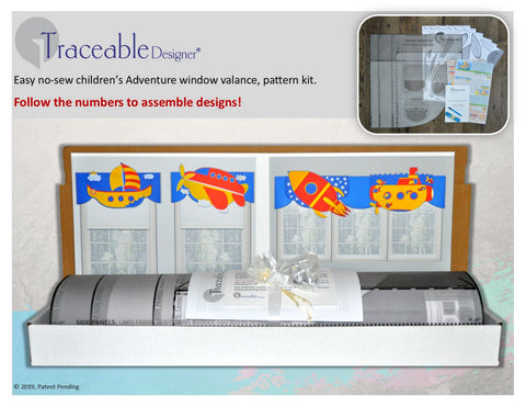 Boys adventure room decorating kit, 3D window decorations include rocket, airplane, sailboat and submarine valances
