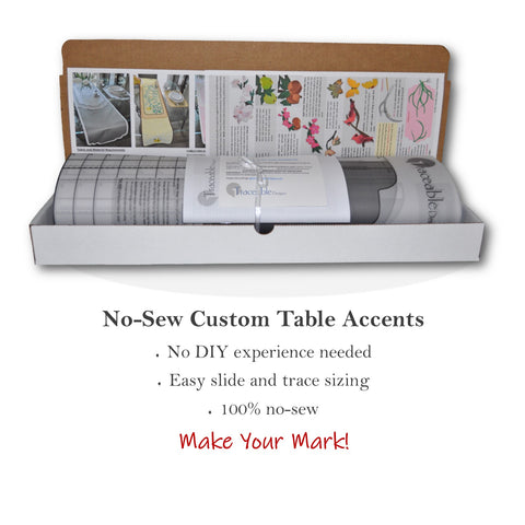 Traceable Designer DIY no-sew table decorating kit includes six styles and iron-on accents