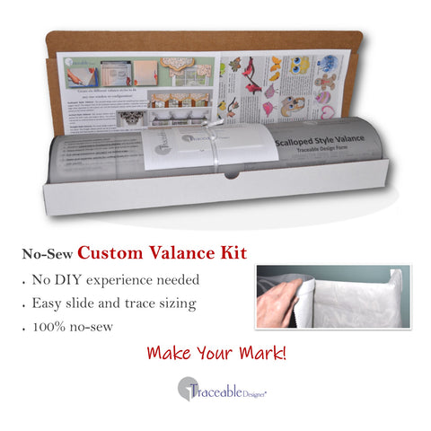 Traceable Designer DIY no-sew valance kit includes easy slide and trace valance forms and traceable iron-on valance accents