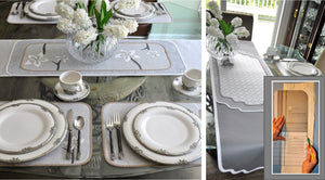 Traceable Designer DIY home decorating kit, table runners, placemats, centerpiece mats and dresser scarves no sewing
