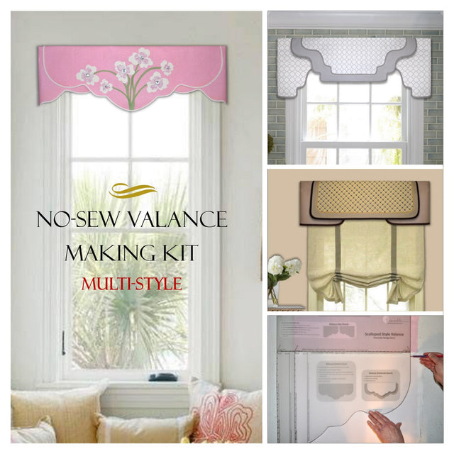DIY no-sew valance kit includes three styles with traceable valance design forms and iron-on accents