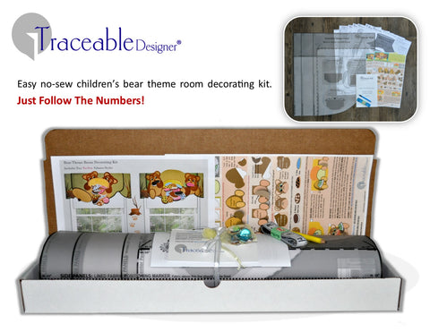 Traceable Designer children's teddy bear valance and room decorating kit for kids bedroom or nursery
