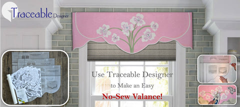 Traceable Designer scalloped style no-sew valance with traceable iron-on flower accents.