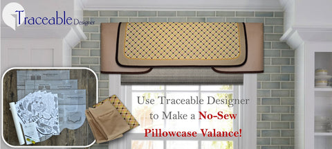 Traceable Designer Arched style valance made using a set of pillowcases! DIY valance kit includes scalloped, arched and straight no-sew valance design forms,
