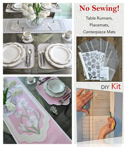 Traceable Designer DIY table decorating kit, make table runners, placemats, centerpiece mats and dresser scarves