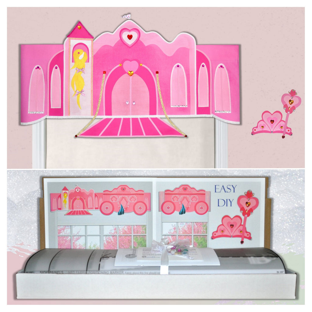Adorable girls princess room decoration, window valance pattern kit. Princess valance kit includes castle and princess carriage styles. Follow-the-numbers to assemble and fuse designs.