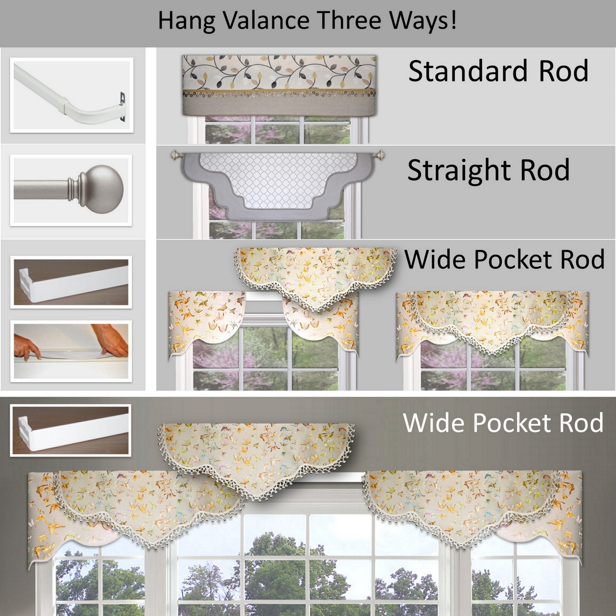 Traceable Designer DIY valance kit, Easy hanging options. No foam board needed!