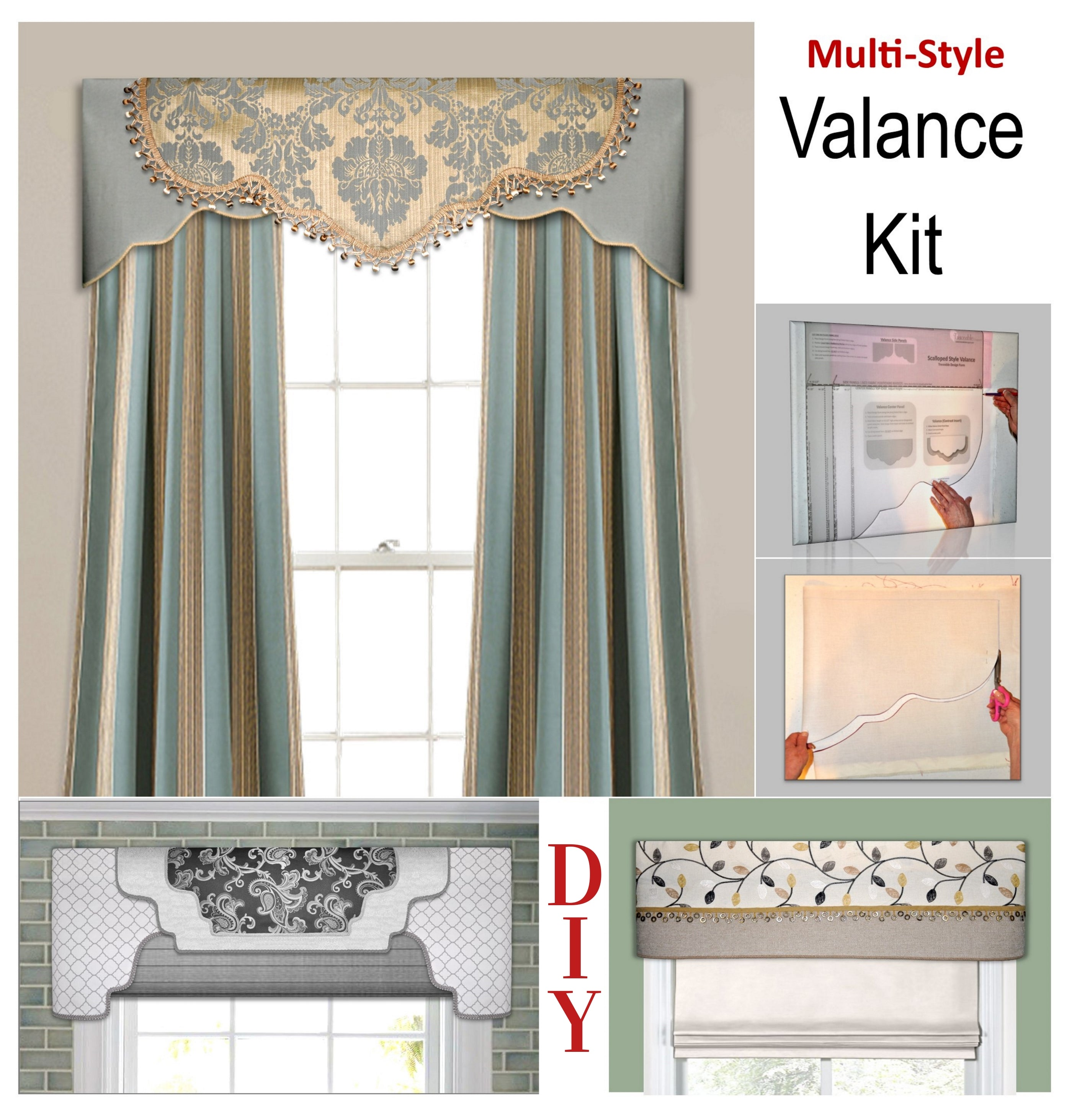 Traceable Desiger DIY multi-style valance kit, no sewing required, includes scalloped, arched and straight window treatment styles, Trace, Cut Out, Iron on Trim and Hang!
