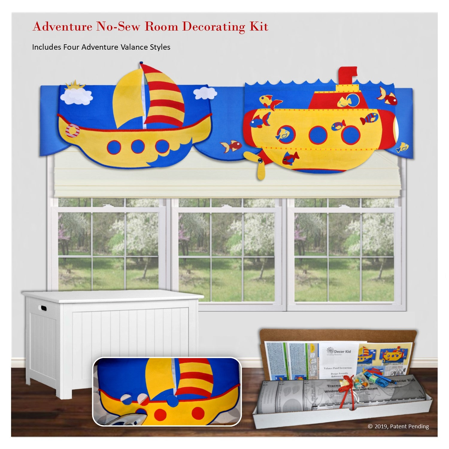 Children's 3D window decorations, unique adventure valances, airplane, rocket, sailboat and submarine, DIY no sewing