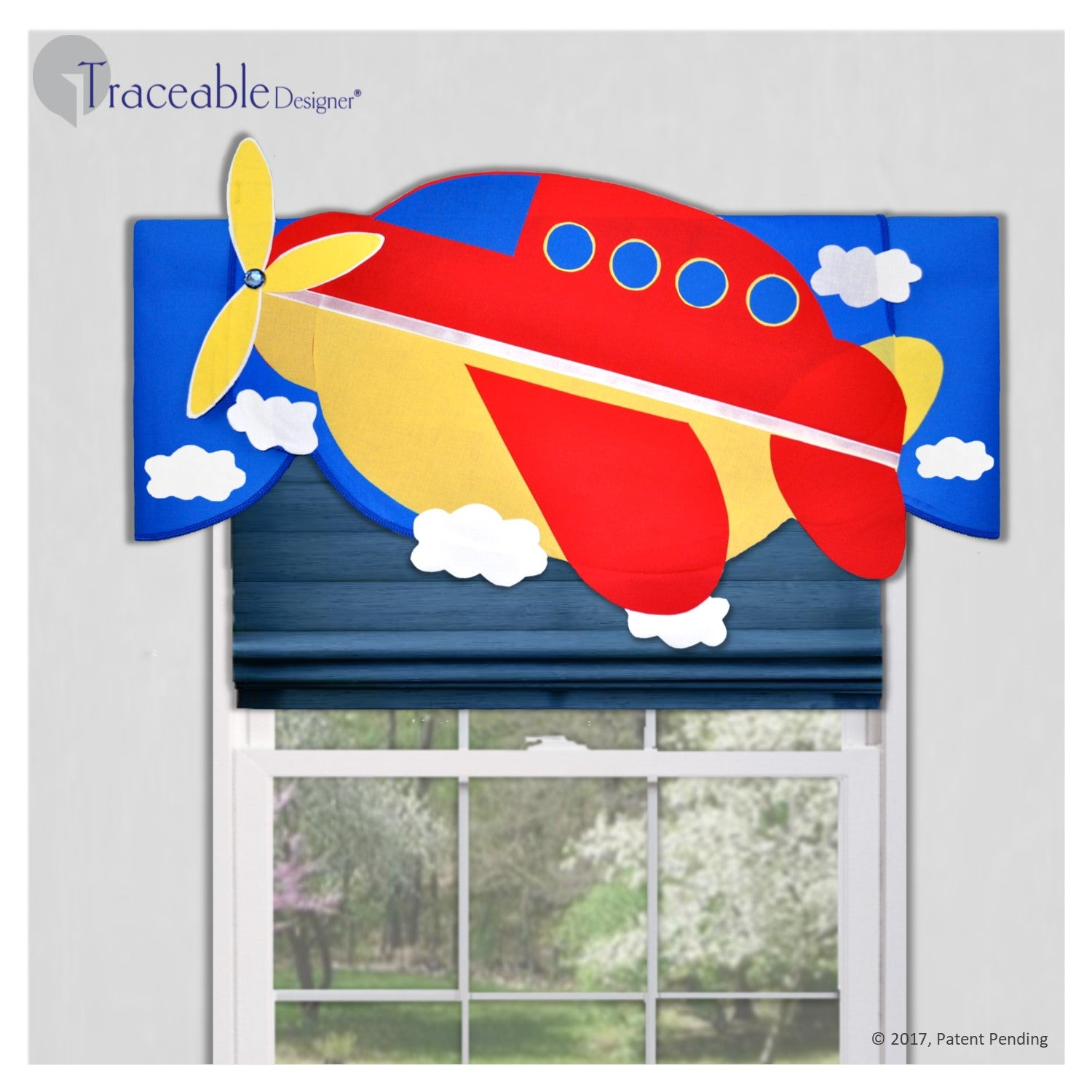 Unique boys 3D airplane valance, DIY no sewing, kit also includes submarine, rocket and sailboat window treatment styles