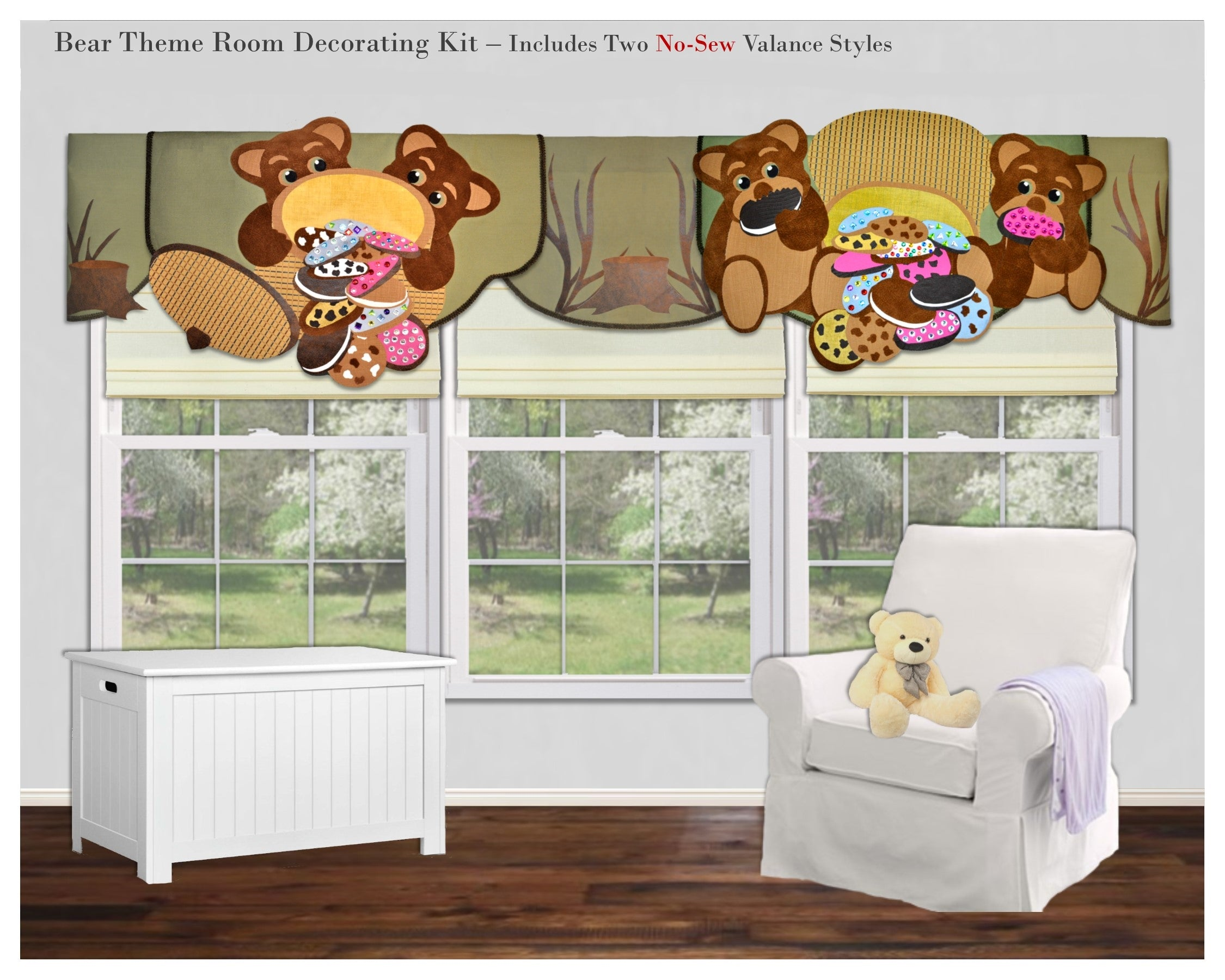 Traceable Designer children's valance, make easy no-sew teddy bear window treatments and wall accents.