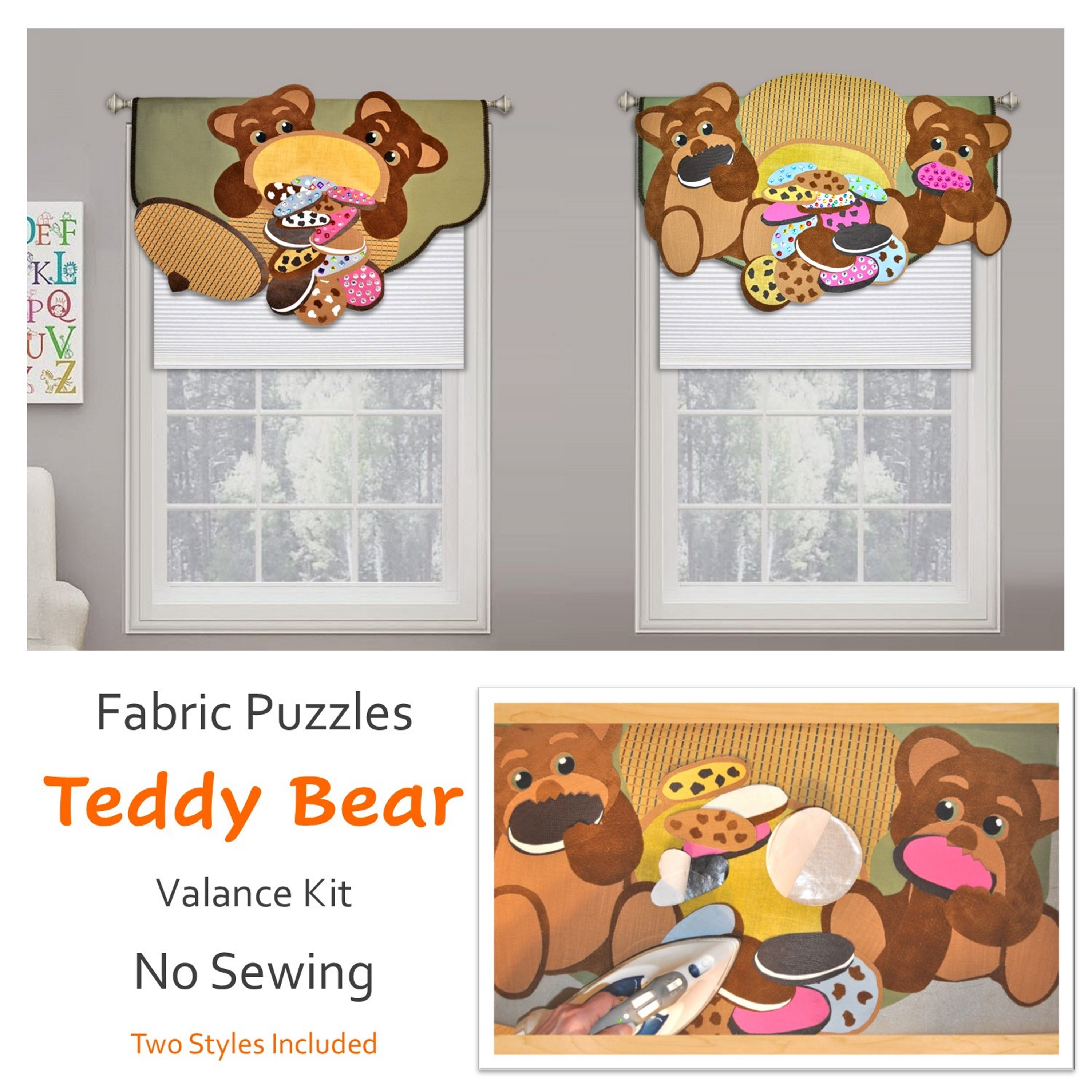 Children's teddy bear, 3D window decoration, window valance for kids bedroom or nursery, no sewing