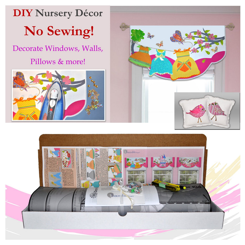 Girls Valance and Room Decorating Kit For Children's Bedroom or Nursery, No Sewing