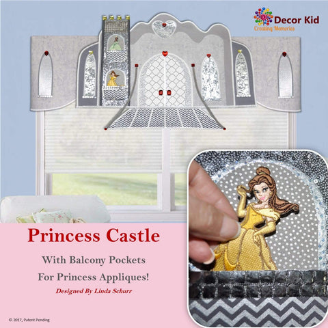 Decor Kid Custom Girls Valance, Princess Window Treatment - Castle With Pockets For Princess Appliques