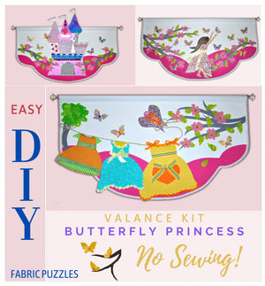 Unique 3D Butterly Princess window decoration for girls bedroom or baby nursery, no sewing