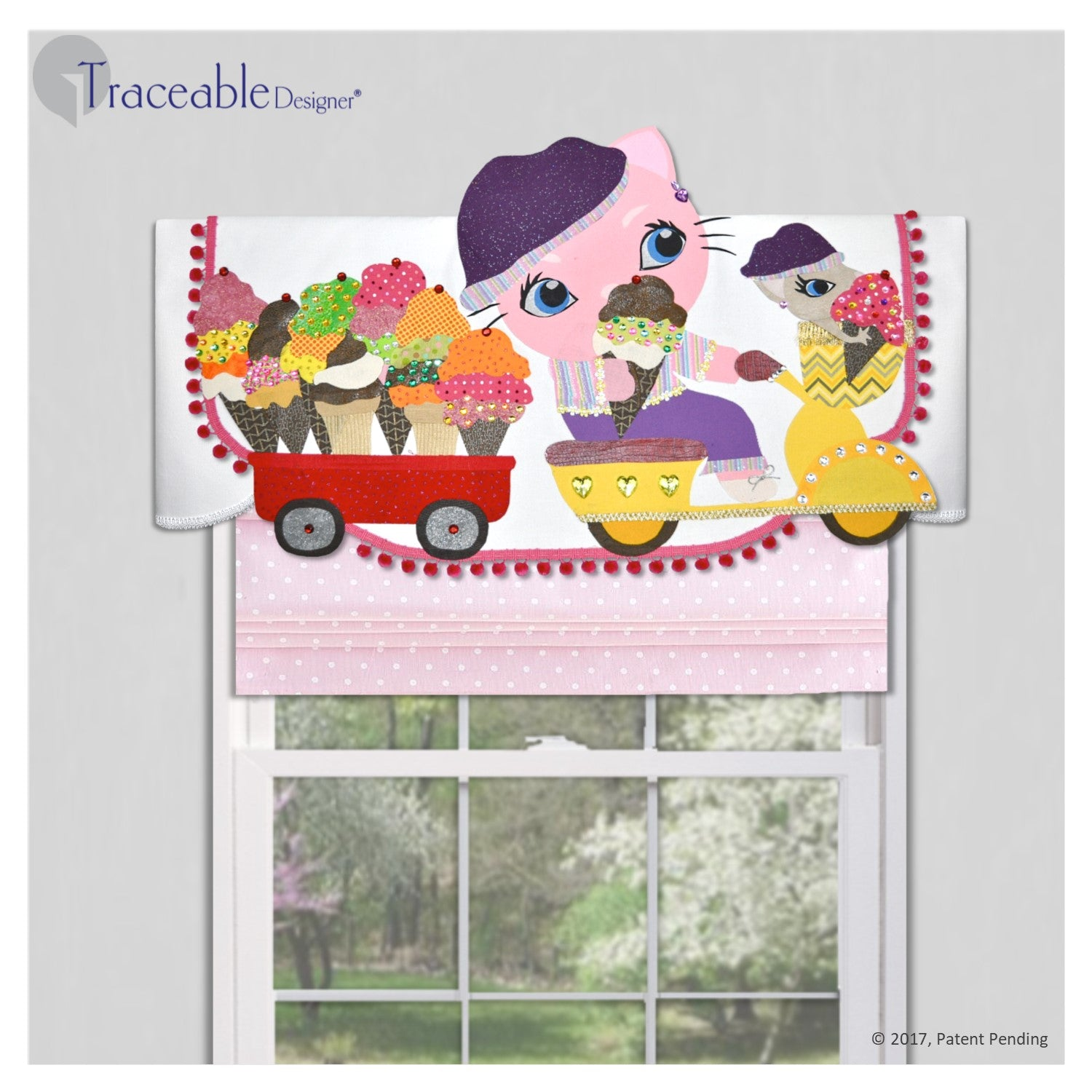 Traceable Designer girls room decorating kit, no-sew kitty valances and wall accents