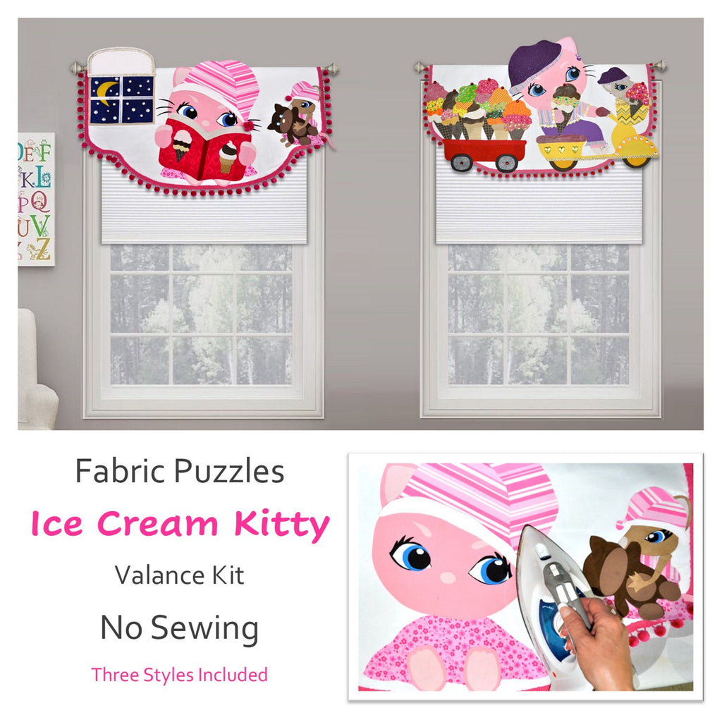 Girls Valance, 3D Kitty Window Decoration, For Kids Windows or Baby Nursey, No Sewing