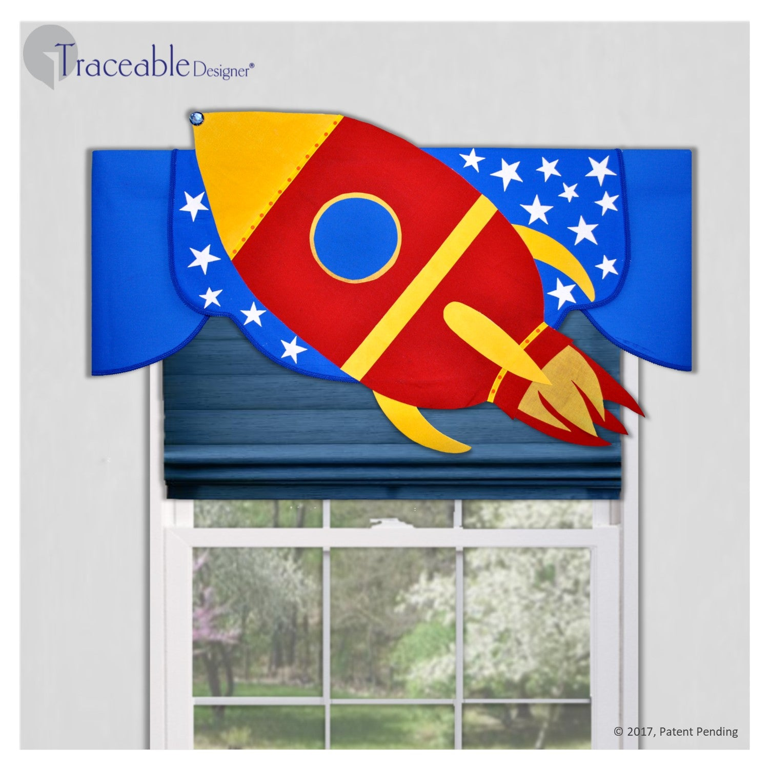 Unique boys 3D rocket valance, DIY no sewing, kit also includes submarine, airplane and sailboat window treatment styles