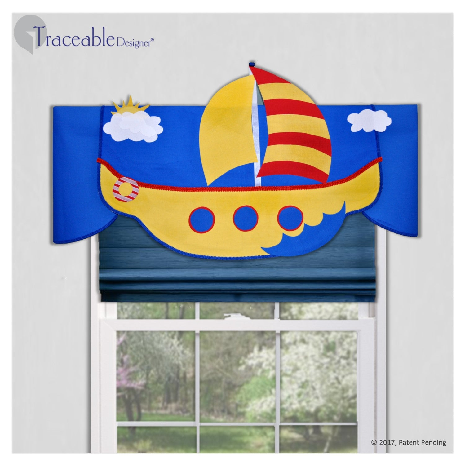 DIY children's sailboat valance, adventure room decor for bedroom or nursery, colorful, no sewing, kit also includes rocket, sub and airplane window treatments