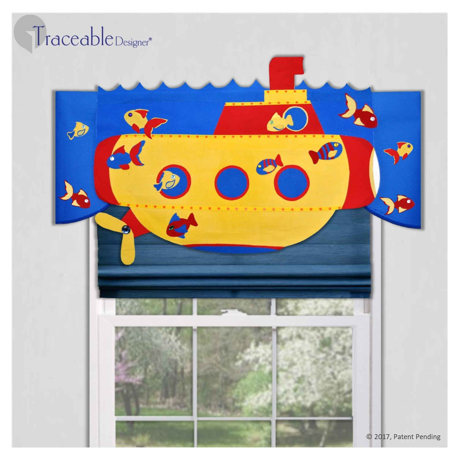 Unique yellow 3D yellow submarine kids valance, DIY no sewing, kit also includes airplane, sailboat and rocket styles