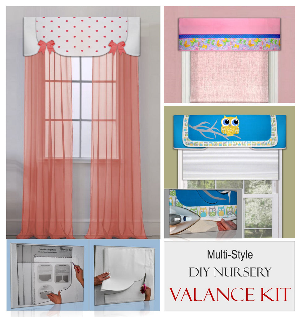 DIY nursery valance kit includes two styles with traceable iron on accents. Make valances without sewing.