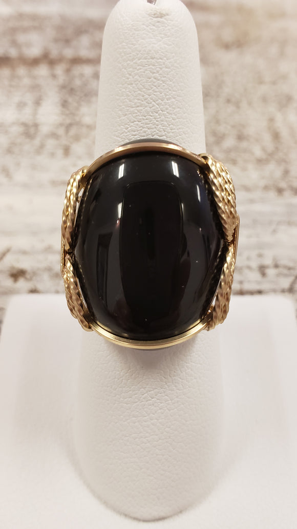 Black Onyx Cabochon Ring