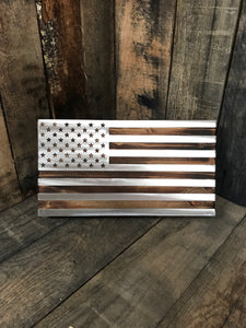 Wooden American Flag with Stainless overlay
