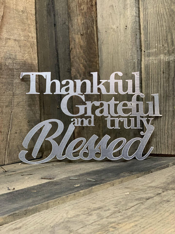Image of Rustic Thankful Grateful and Truly Blessed
