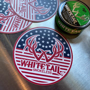 American Flag Whitetail Smokeless Logo Sticker