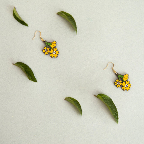 Link that sends us to the page of the BLOSSOM illustrated wooden jewelery collection by Materia Rica. In the photo some earrings in the shape of yellow flowers.