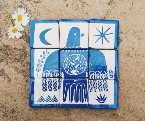Composition of blue and white tiles, by Rosa Satoca, FOU.
