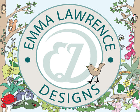 Emma Lawrence logo where it says Emma Lawrence Designs and there are drawings of nature and birds.
