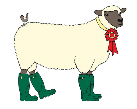Illustration of white sheep in green boots.