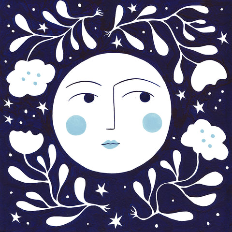 The moon painting in blue by Lisa Junius