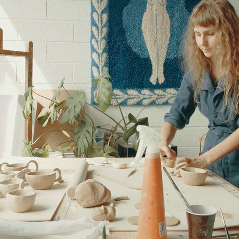 Lisa Junius at her ceramic's studio