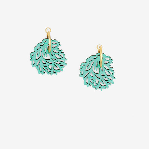 Sea Grass earrings, in the shape of turquoise blue round seaweeds, with a golden hoop.