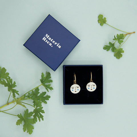 Full moon earrings by Lisa Junius and Materia Rica