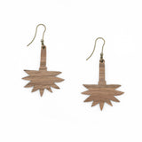 Backside of the Jungle earrings that reveals the walnut wood and the free-nickel metals of the hook-shaped clasp.